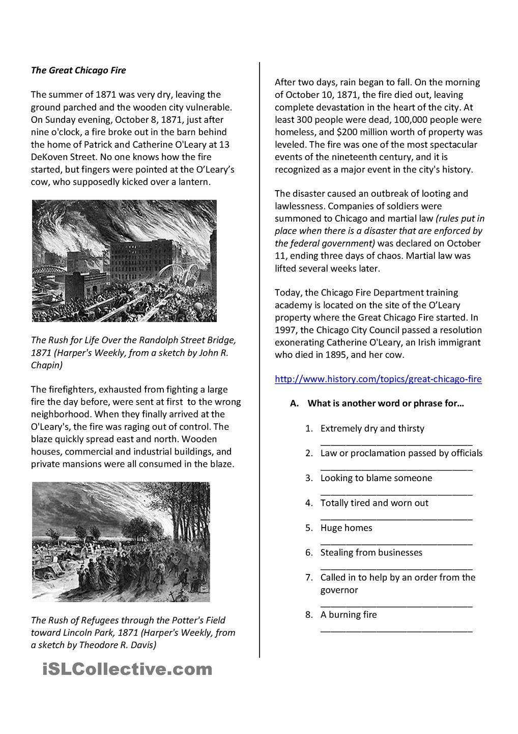 Reading Comprehension The Great Chicago Fire | Reading comprehension ...