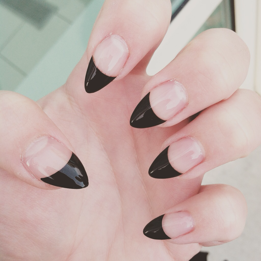 Negative space black tipped stiletto nails. | nails | Pinterest