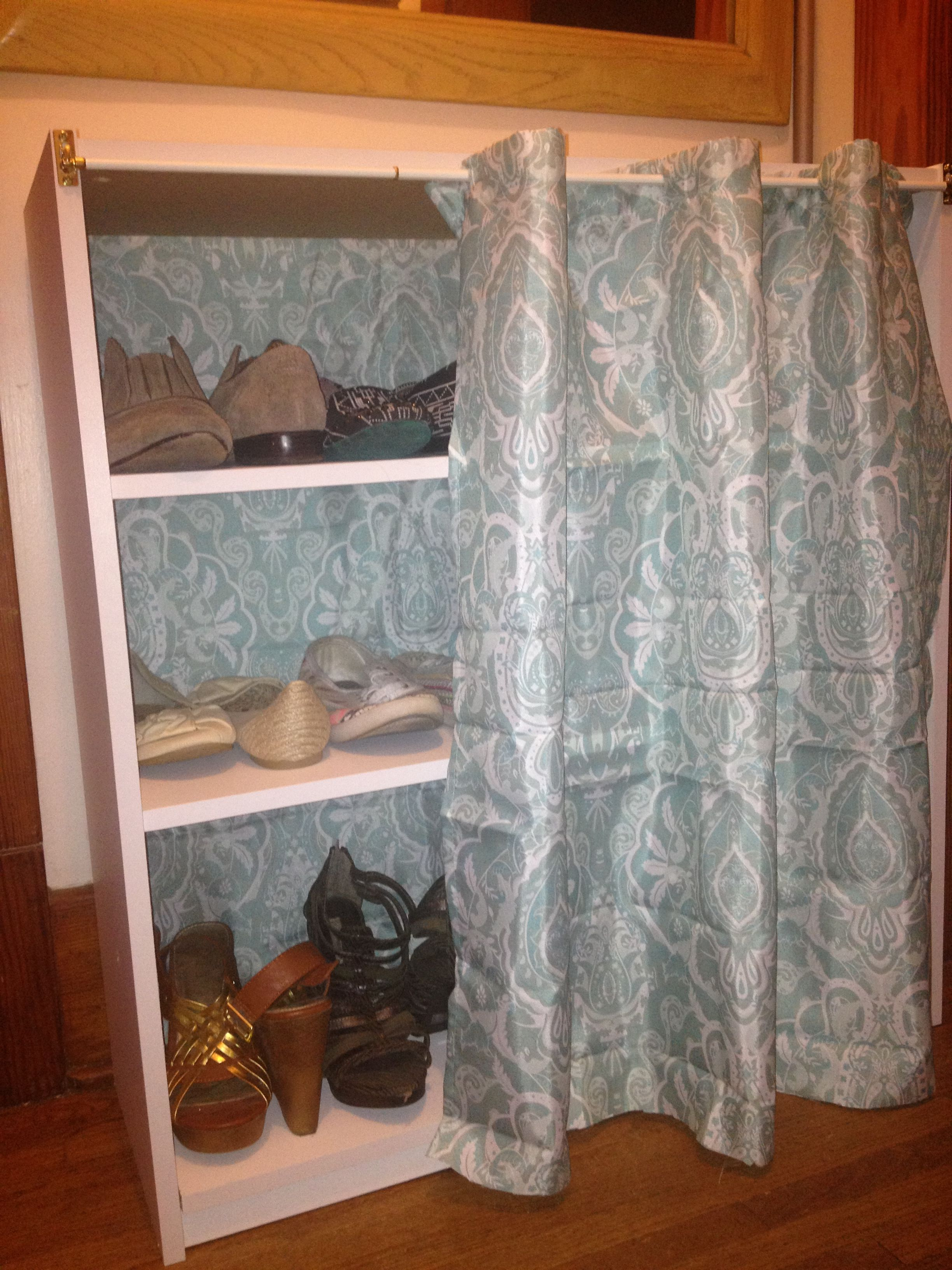 Inexpensive Shoe Hideaway By Using A Wal Mart Bookshelf Curtain