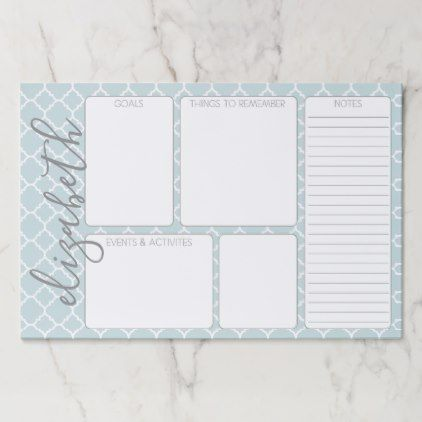 Goals \ To Do List Mint \ Gray Quatrefoil Pattern Paper Pad DIY - sample to do list