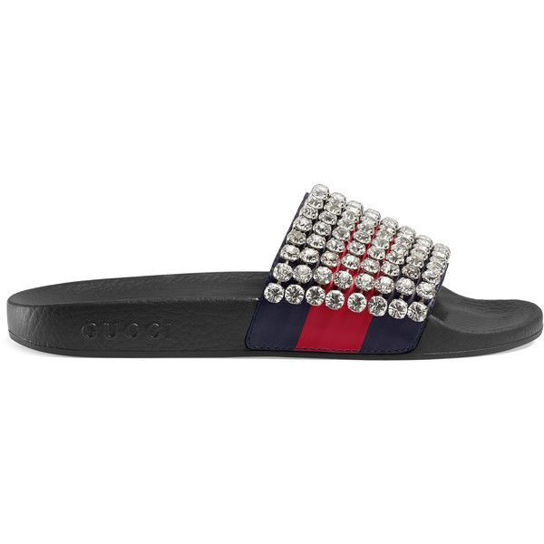 92f4e6c2ca3f Gucci Web Slide With Crystals ($1,070) ❤ liked on Polyvore featuring shoes,  sandals, women, blue sandals, leather shoes, red blue shoes, red shoes and  red ...