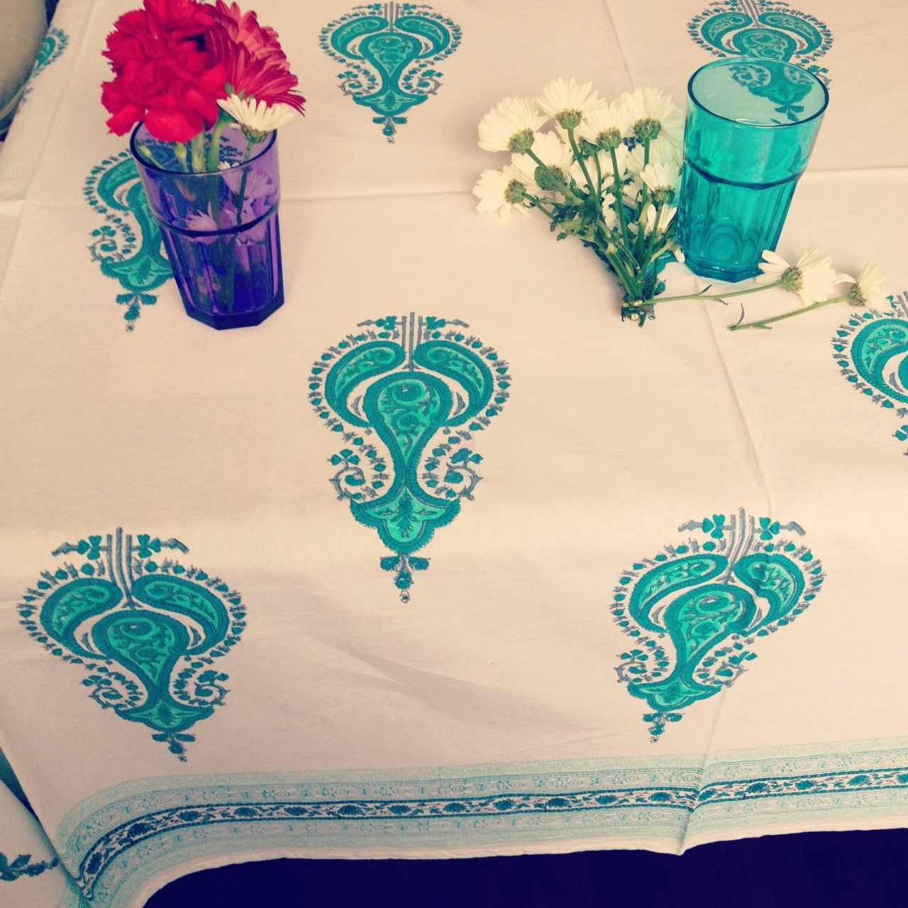 Turquoise Temple Tablecloth Indian Tablecloth Block Printed(180x275cm). For  A Large Dresser