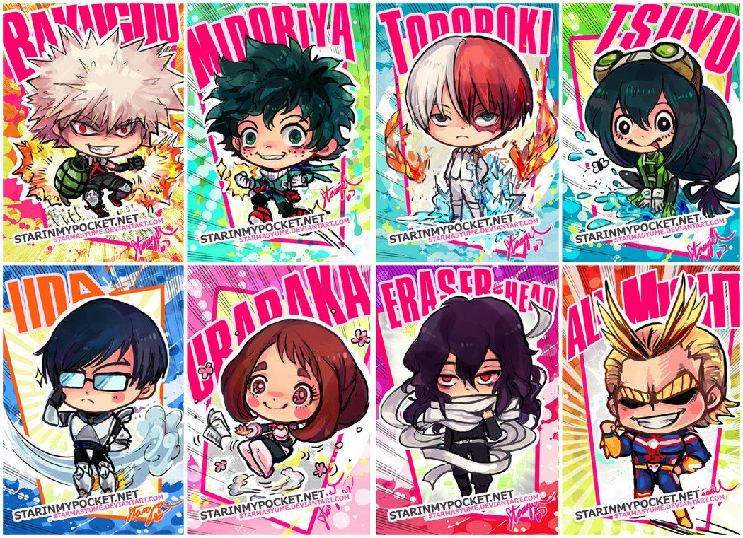 My Hero Academia Chibi Set For Keychains With Bakugou Midoriya Todoroki Tsuyu Iida Uraraka Eraser Head And All Might Starmasayume Sta My Hero Hero Chibi