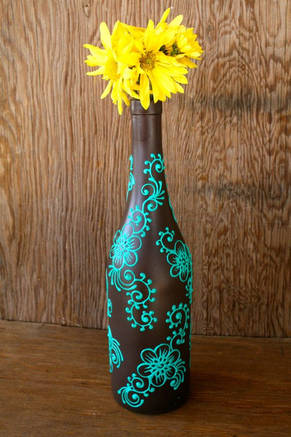 Decorative Wine Bottles For Sale Endearing Summer Sale Hand Painted Wine Bottle Vase Up Cycled Chocolate Review