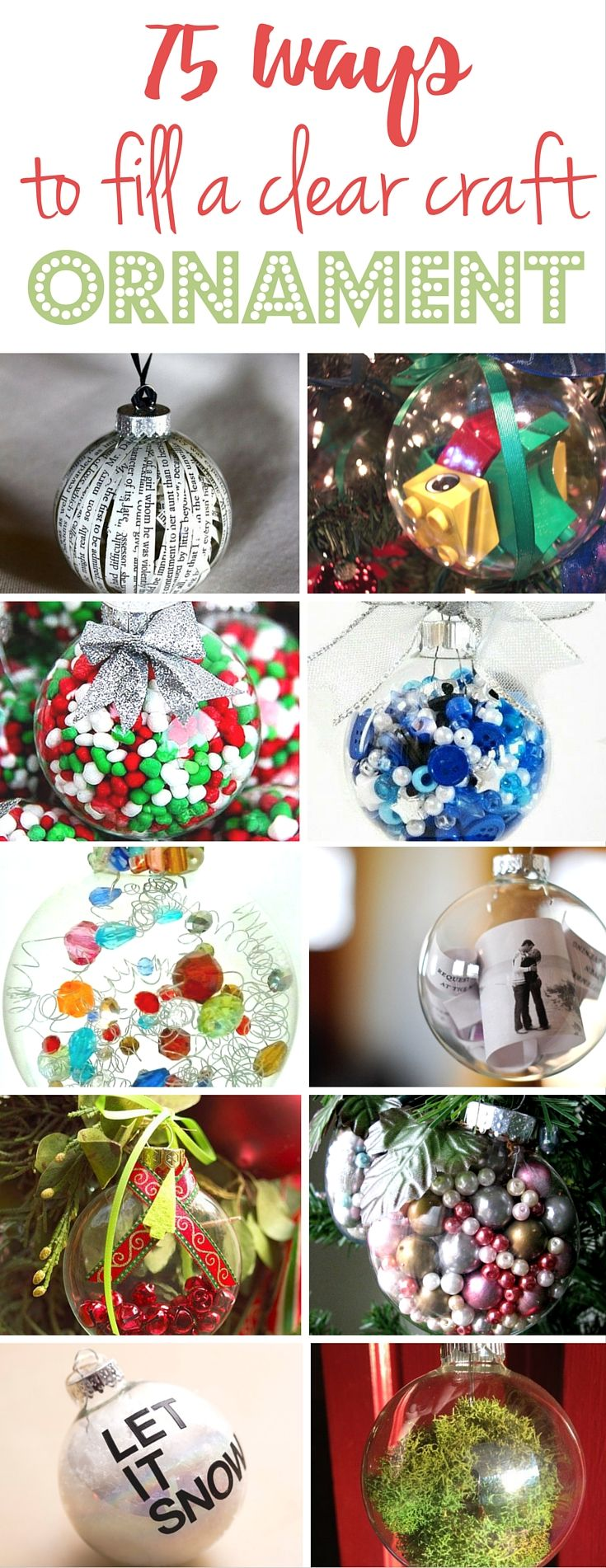 ways to fill a clear craft ornament and make a homemade christmas