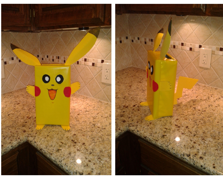 Pikachu valentine box shoe box wrapped in yellow paper craft foam