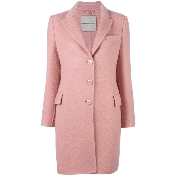Ermanno Scervino classic mid coat (4.405 BRL) ❤ liked on Polyvore featuring outerwear, coats, pink, pink coat, red coat and ermanno scervino