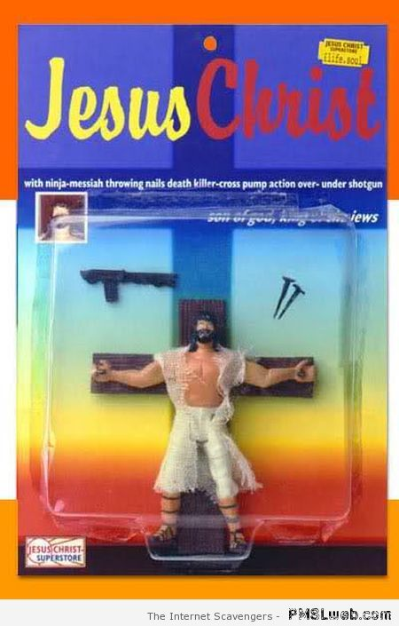 Another Jesus action figure. Has a cross, nails and a gun (?).