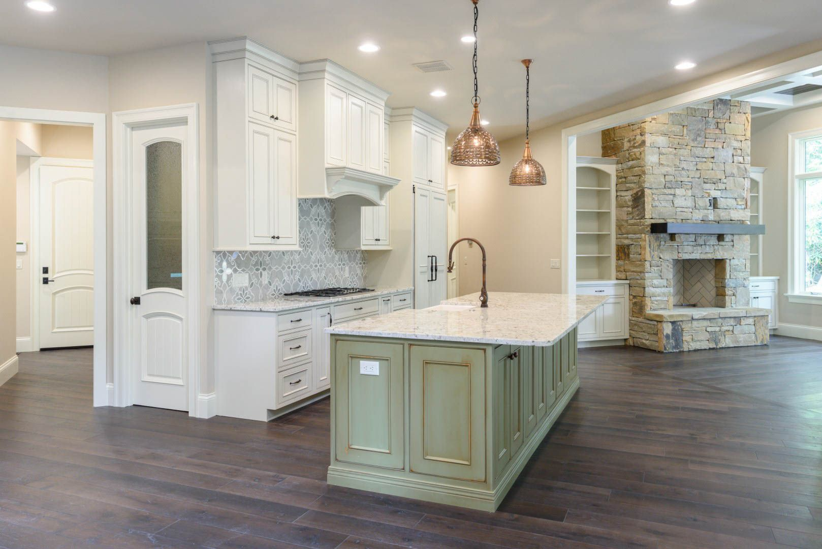 Open Plan White Kitchen In 2020 Home Builders Custom Homes Custom Home Builders