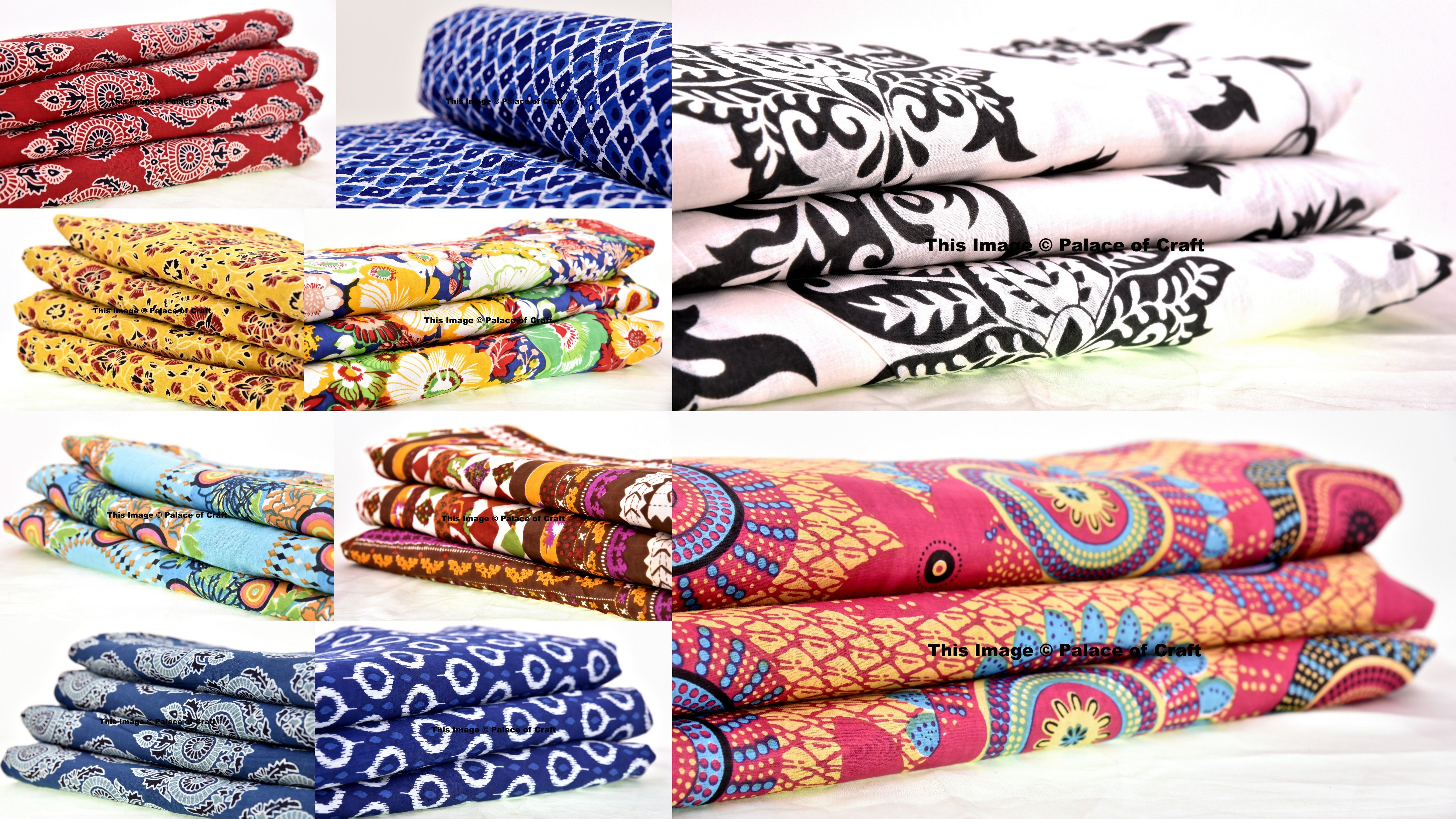 1//2.5 Yard Indian Bird Hand Block Print Cotton Fabric Dressmaking Sewing
