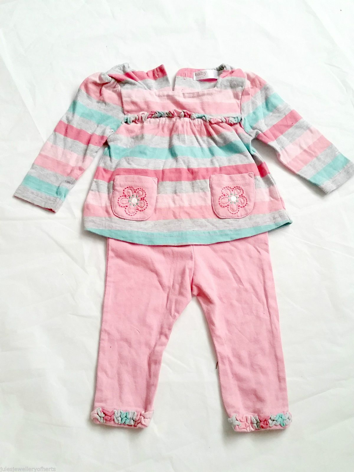 BABY CLOTHES baby girl 3 6 months 2 piece set M&Co top and trousers