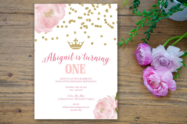 Sparkle Flower Birthday Party Invitation