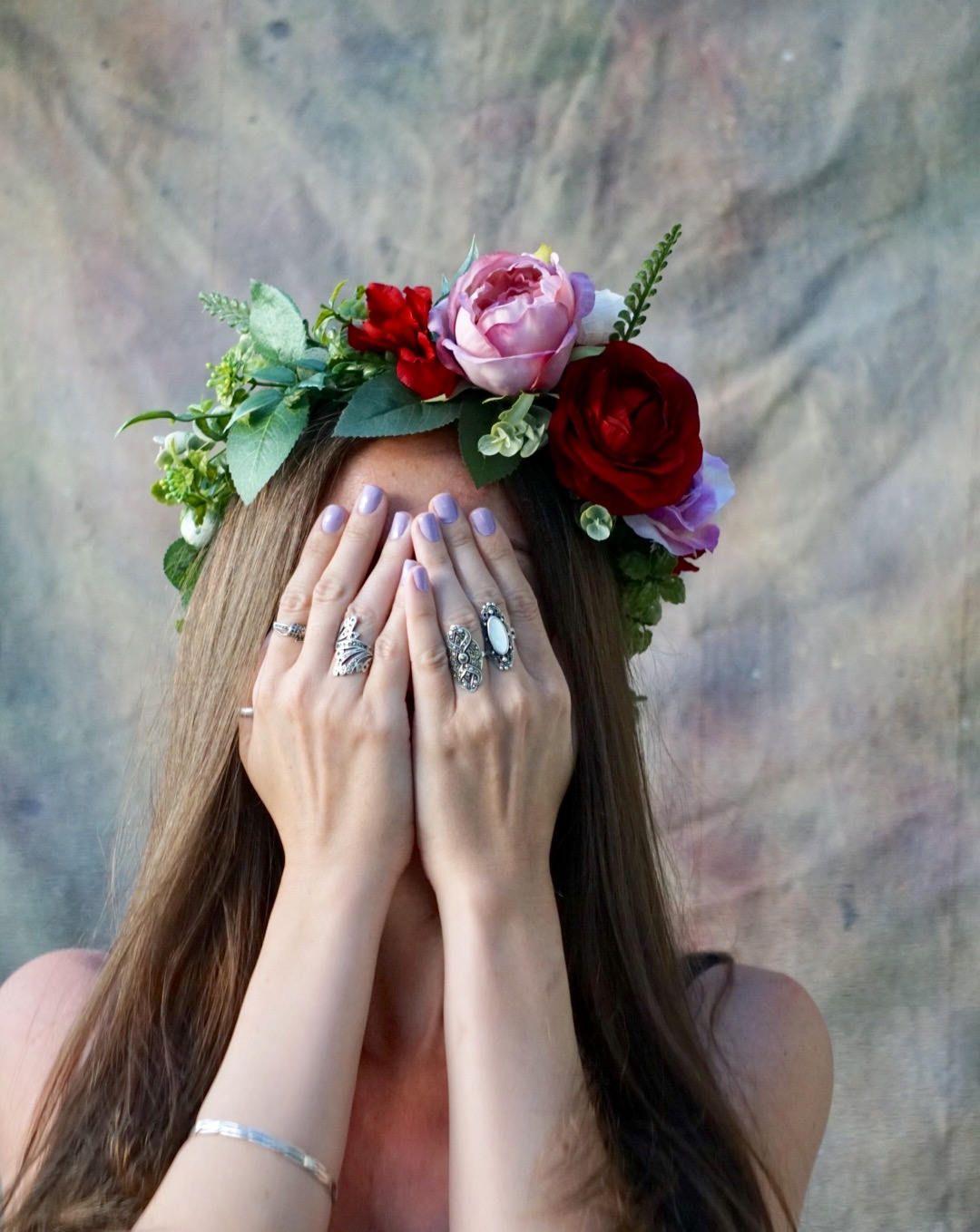 Flower crown wedding red pink flower crown greenery crown flower flower crown wedding red pink flower crown greenery crown flower crown adult bridal headpiece lavender floral crown by welcominggracecrafts on etsy izmirmasajfo