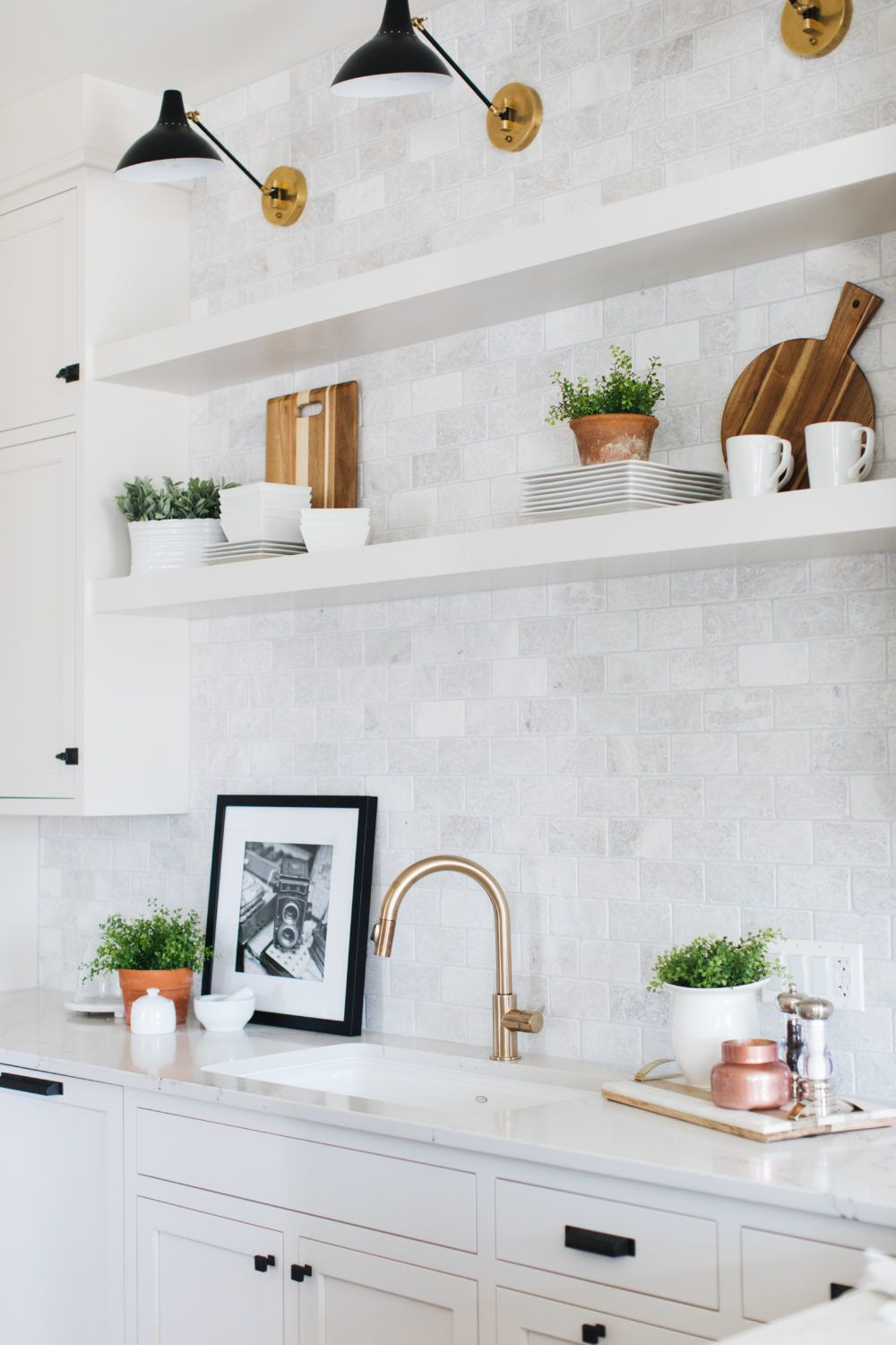 Five Elements of Hygge White kitchen floating shelves