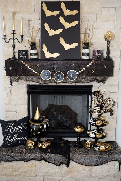 Easy and Chic Halloween Mantel Ideas Pinterest Mantels, Chic