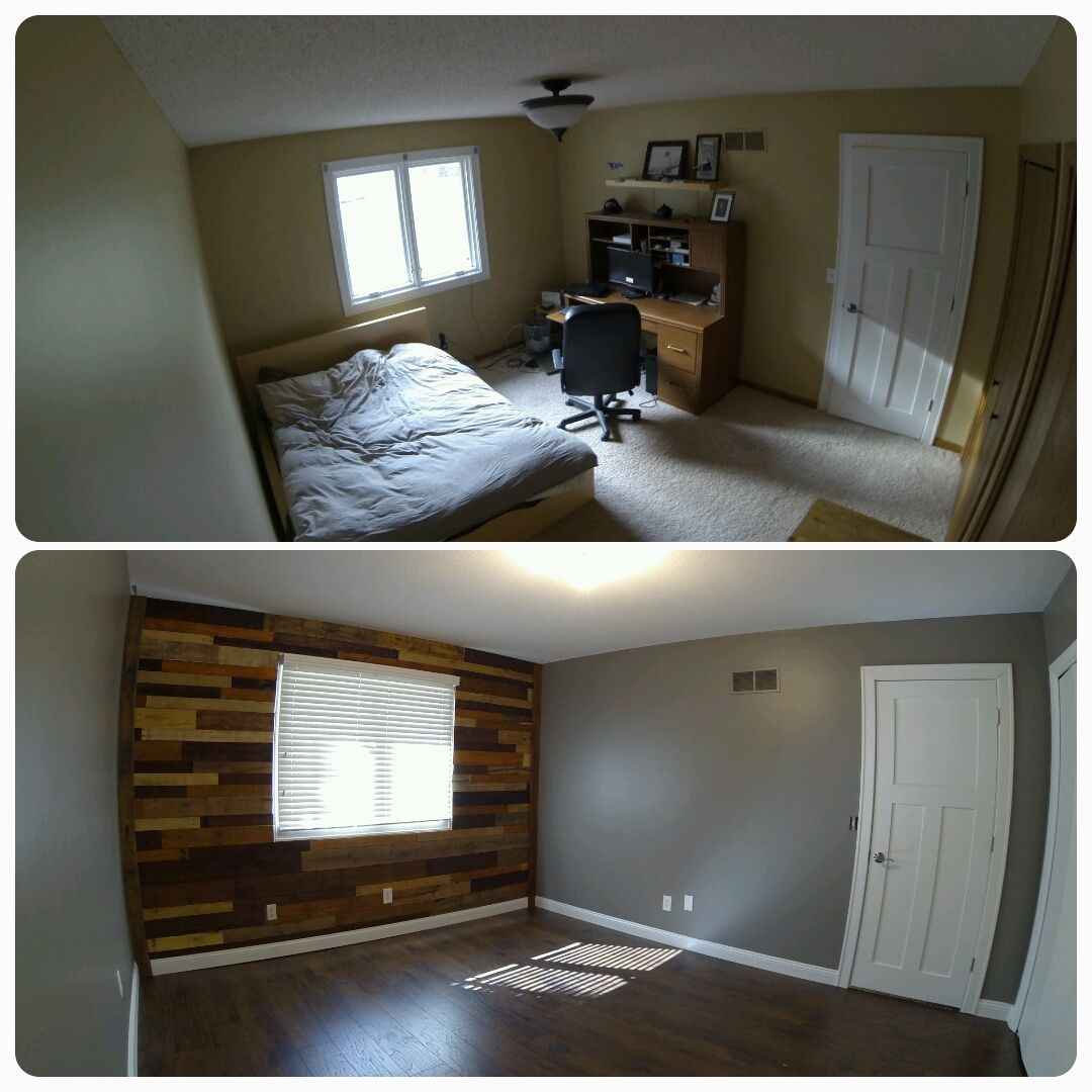 Office Remodel before and after. Used pallet wood for an ...
