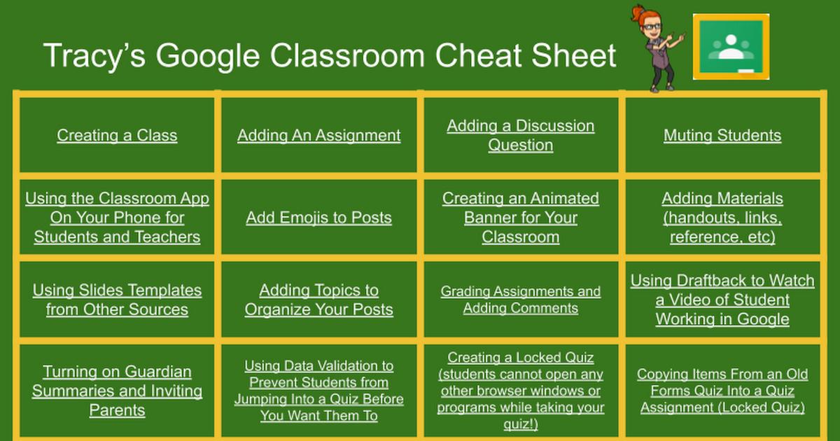 Tracy's Google Classroom Cheat Sheet in 2020 Google