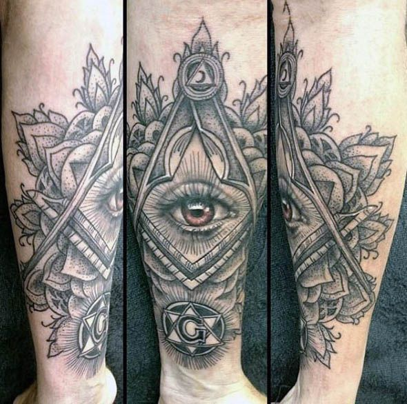 Freemasons Masonic Mens Wrist Tattoo Of All Seeing Eye