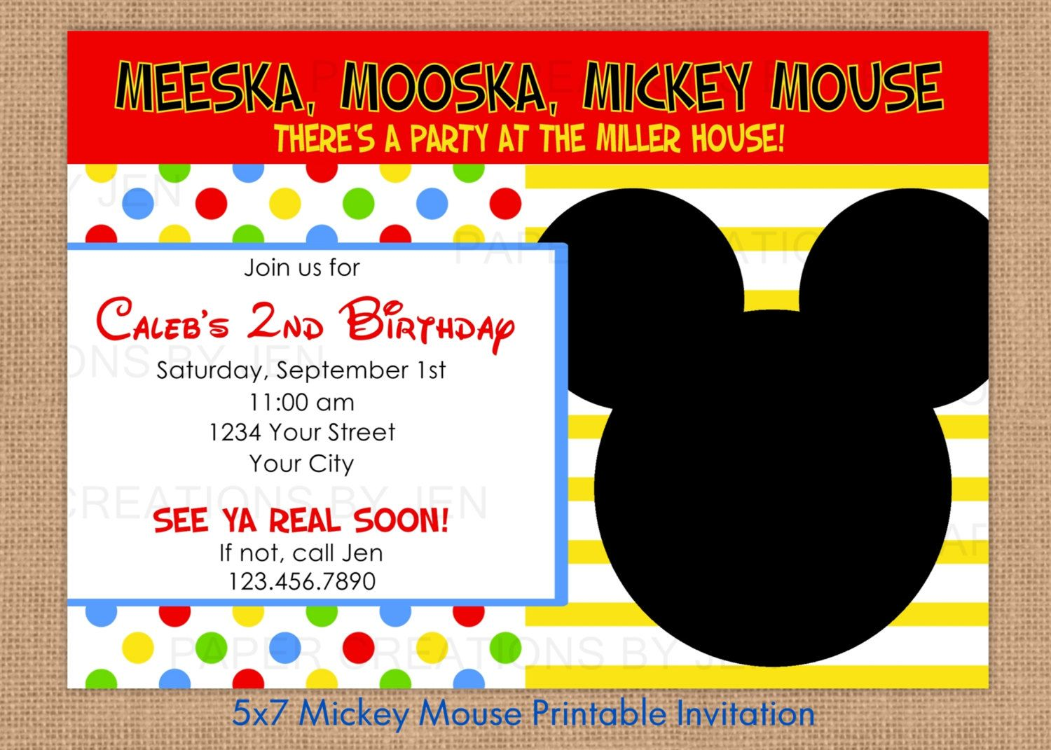 Free Mickey Mouse Invitation Printables  Classroom Decoration