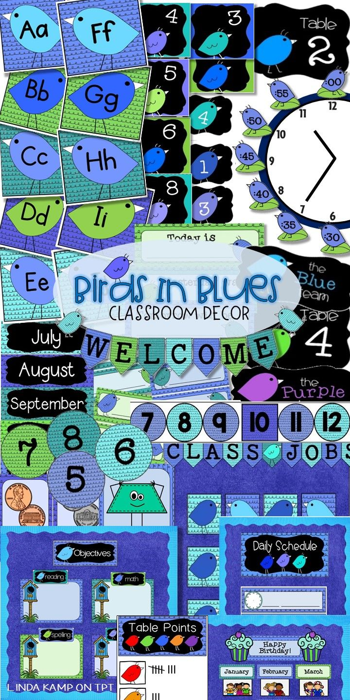 Blue classroom décor is my favorite! I designed this Birds in Blue decor line to use in my own classroom to create a calming and cohesive learning environment. Includes 10 management displays and posters for objectives, calendar wall, number line, birthdays, daily schedule, class jobs, center rotations etc.  It includes a 50 + editable labels and a complete math wall with posters for money, 2D, 3D shapes, days of the week, and 100 & 120 charts.