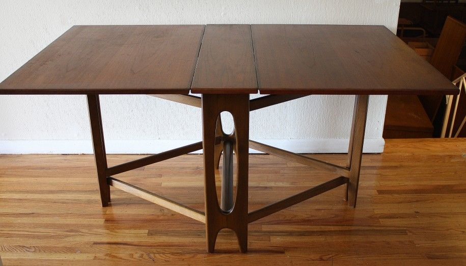 Very Clever Wood Folding Table With Mid Century Flare.