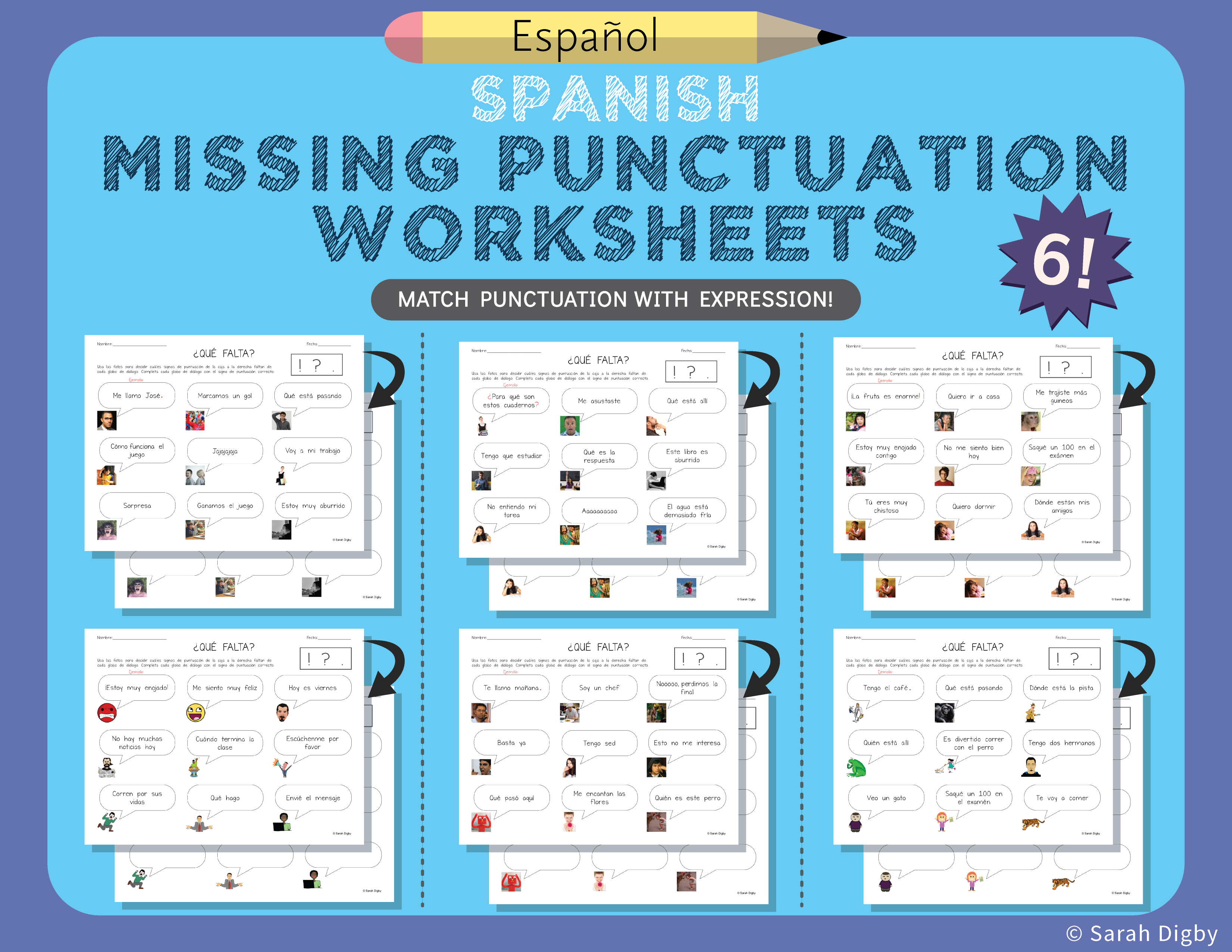 6 Double Sided Missing Punctuation Worksheets Spanish Punctuation Worksheets Punctuation Worksheets [ 2550 x 3300 Pixel ]