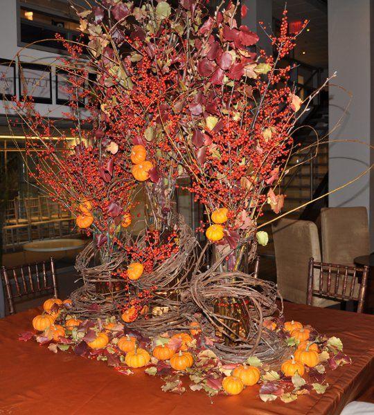 October Outdoor Wedding Ideas: Fall Brown Orange Red Centerpiece Centerpieces Indoor