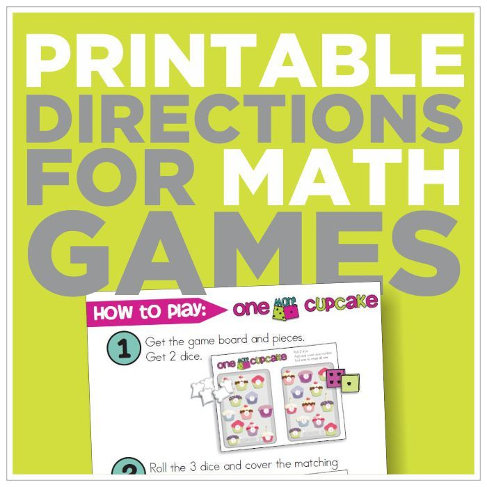 Free Picture Directions for 12 Math Games {printable | Math ...