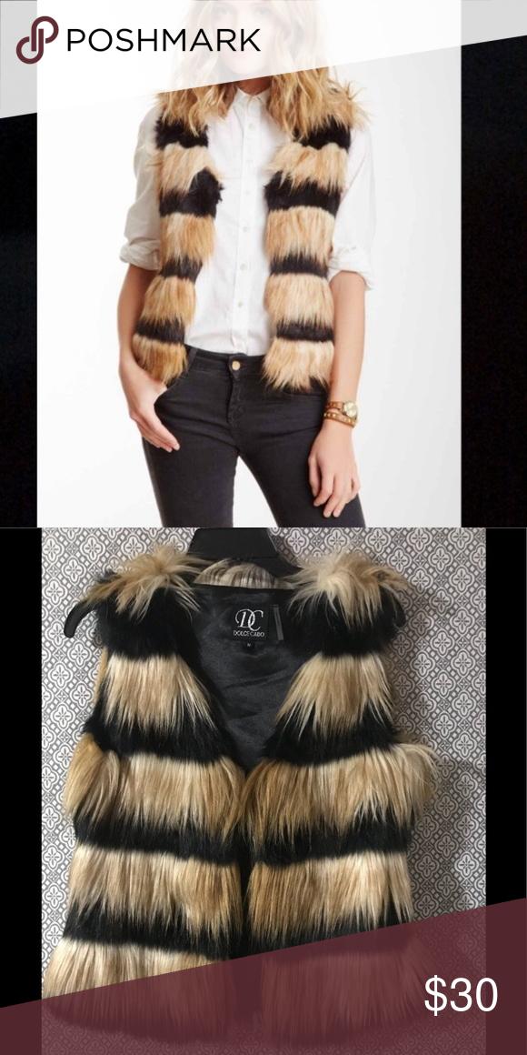 Dolce Cabo black faux fur vest in 2020   Faux fur vest ...