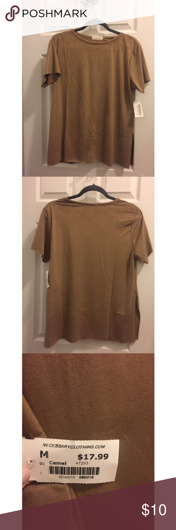 NWT Camel suede shirt Faux suede, camel color, short sleeve, sides have slits about 1/3 of the way up. Never worn! Necessary Clothing Tops Tees - Short Sleeve