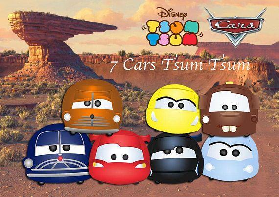 Disney Tsum Tsum Libro Para Colorear En Línea De Arte En: CARS TSUM TSUM. 7 High Resolution Digital Clipart. Cars