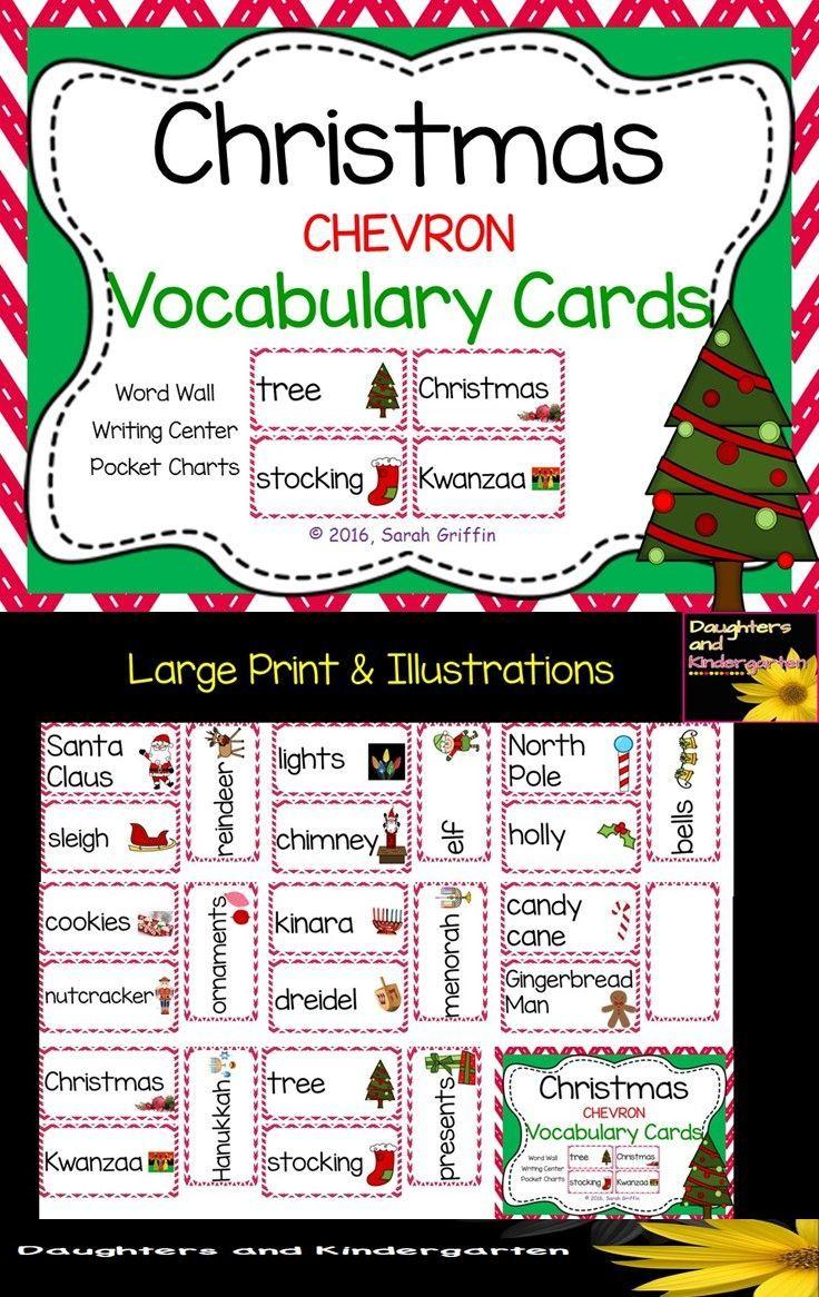 sarah griffin daughters and kindergarten httpswwwteacherspayteacherscomproductchristmas vocabulary word cards chevron 807660