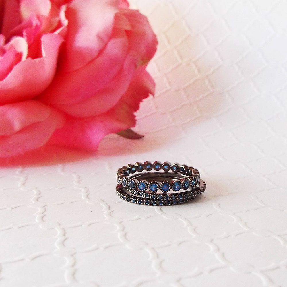 3 mm blue sapphire black gold milgrain Bezel CZ full eternity ...