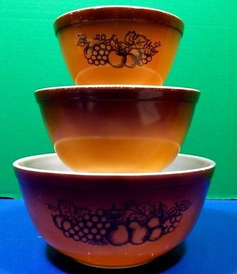 Vintage Pyrex Old Orchard Mixing Nesting Bowls #401 #402 #403 Brown ...