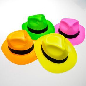 Neon Fedora Party Pack by Century Novelty. $18.40. Dress Up Any Costume With the Perfect Hat. It's time for a pop of color with the Neon Fedora Party Pack! Keep these brightly colored fedoras on hand for a hat that will please your guests and your budget! These assorted neon hats are perfect for Halloween gatherings, Birthday parties, and music inspired events! 12 hats per package. One size fits most. Approximately 21 3/4 circumference around inside of hat. Assorted...