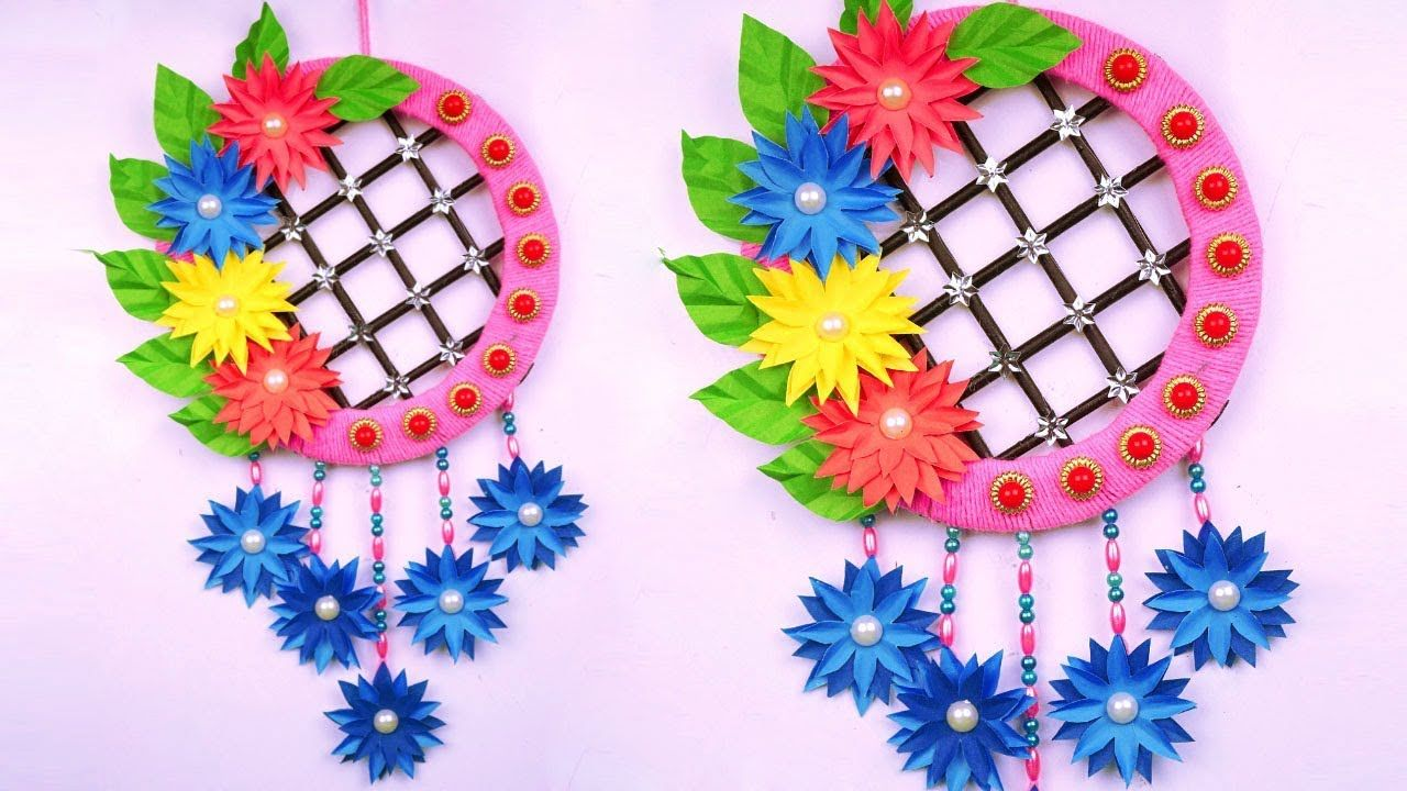 DIY: Paper Flower Wall Decoration Idea with Wool at Home - Amazing