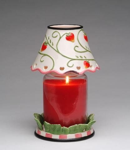 Set of 2 Large Strawberry Designed Jar Shade and Glass Jar Holder ...