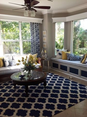 Blue White With Splashes Of Yellow Classic Colors An Updated Twist Living RoomsLiving