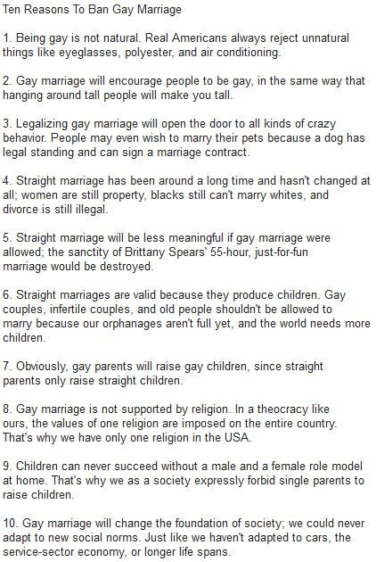 What words... 10 reasons gay marriage arent real happens