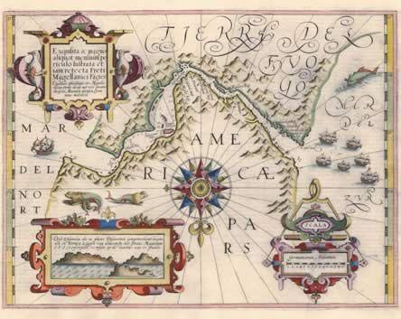 Estrecho de Magallanes (Mapa de Jodocus Hondius).