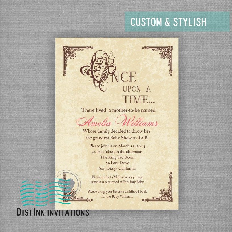 Fairy Tale Once Upon A Time Inspired Baby Shower Or Bridal Shower Invitation