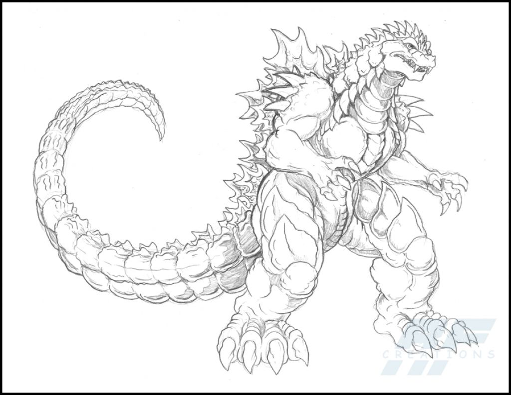 A Detailed Sketch Of Almighty Godzilla Coloring Page | Fantasy ...