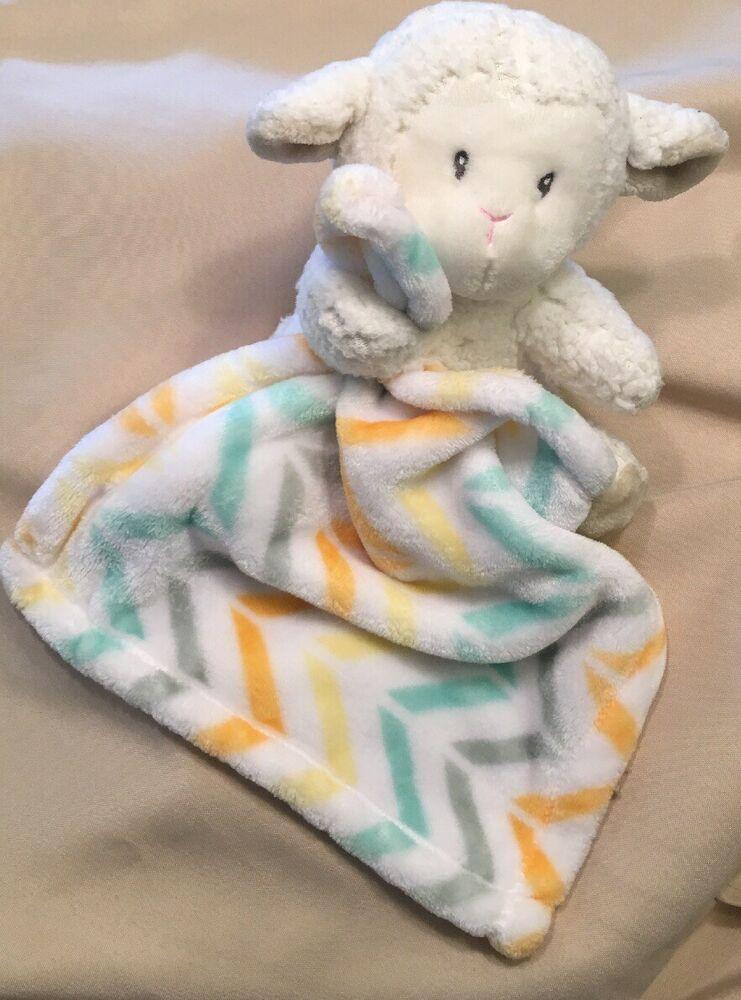 Little Miracles Lamb Chevron Plush Baby Blanket Security