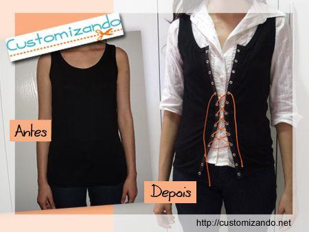d79abf5bc4 Customizando - transformando camiseta regata em colete