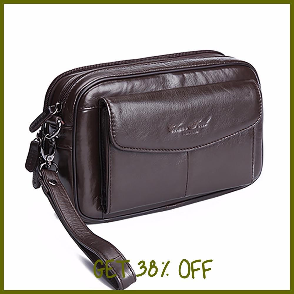 a4d372b15 100% Genuine Leather Men Business Cltuch Bags Mobile Phone Case Cigarette Purse  Pouch First Layer