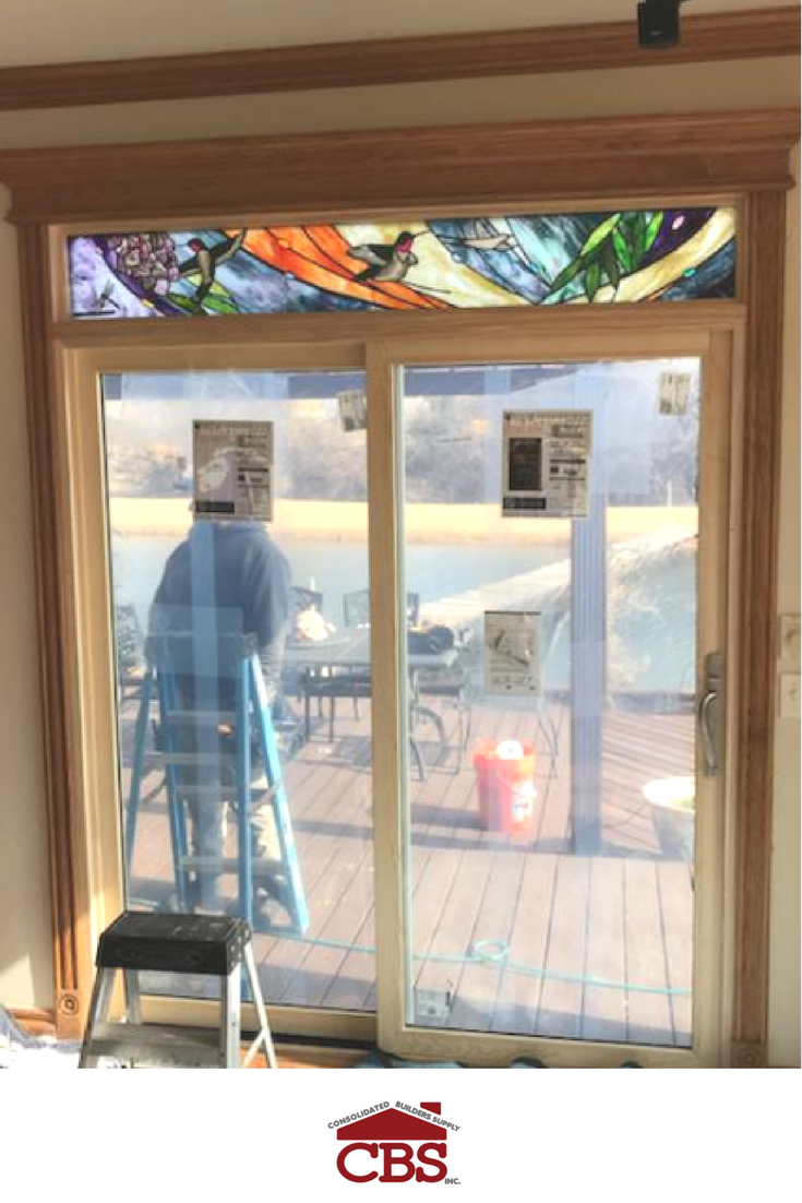Nice Installation Of 3 Windsor Windows Doors Sliding Patio With Custom Stained Glass Transoms For Swm Sons Construction Cbsoklahoma