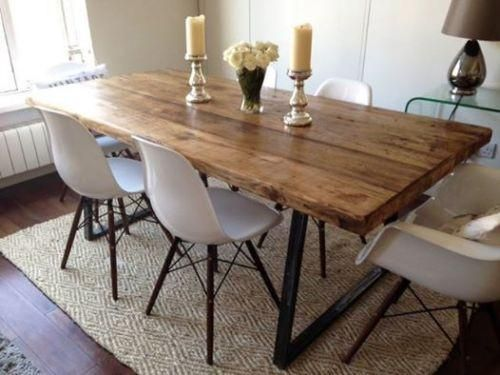 VINTAGE INDUSTRIAL RUSTIC RECLAIMED PLANK TOP DINING TABLE TRIANGLE ST Design Shack Interiors Ltd