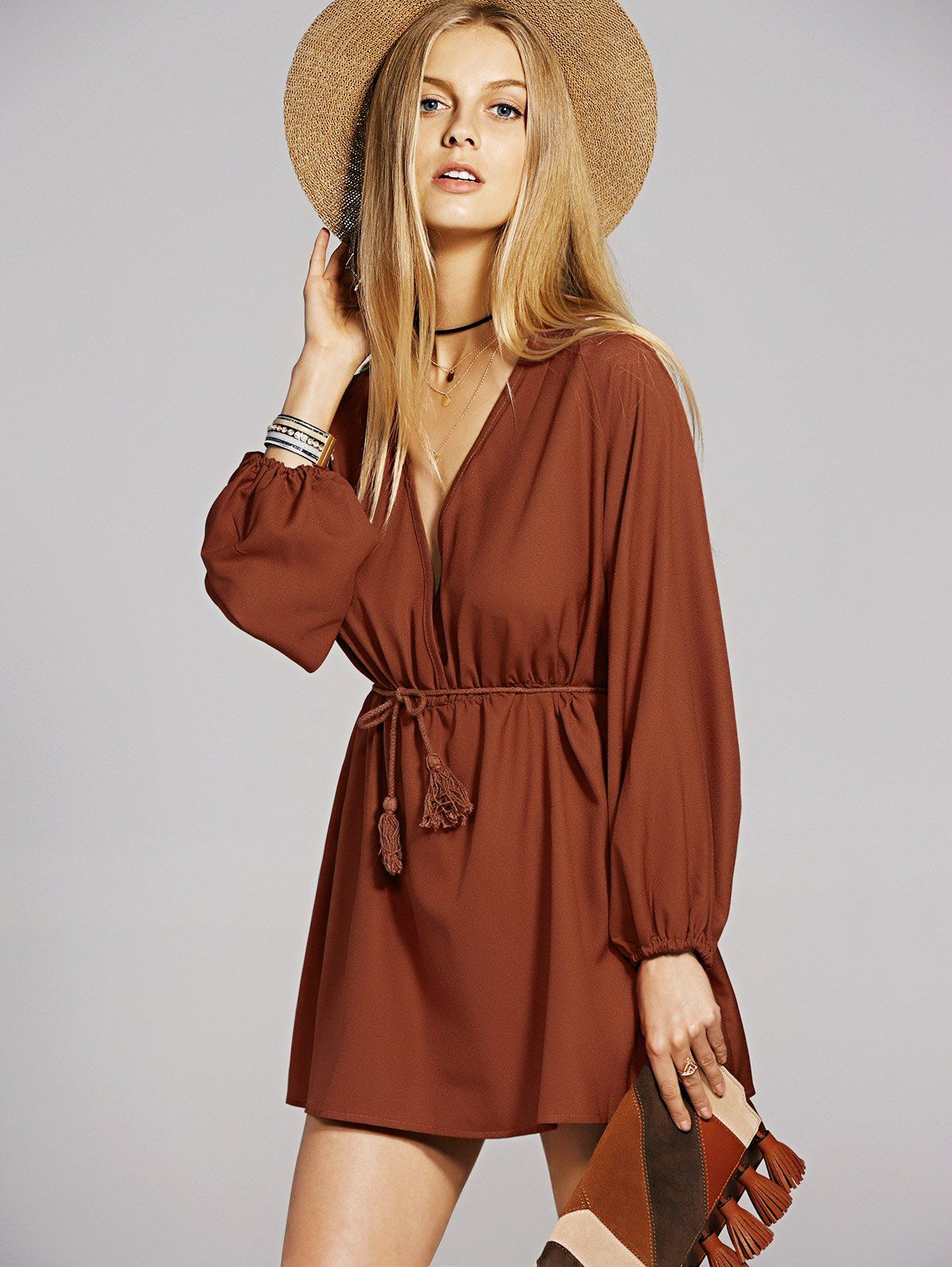 05e5b597f4 Bohemian Long Sleeve Plunging Neck A-Line Dress For Women   MINI ...