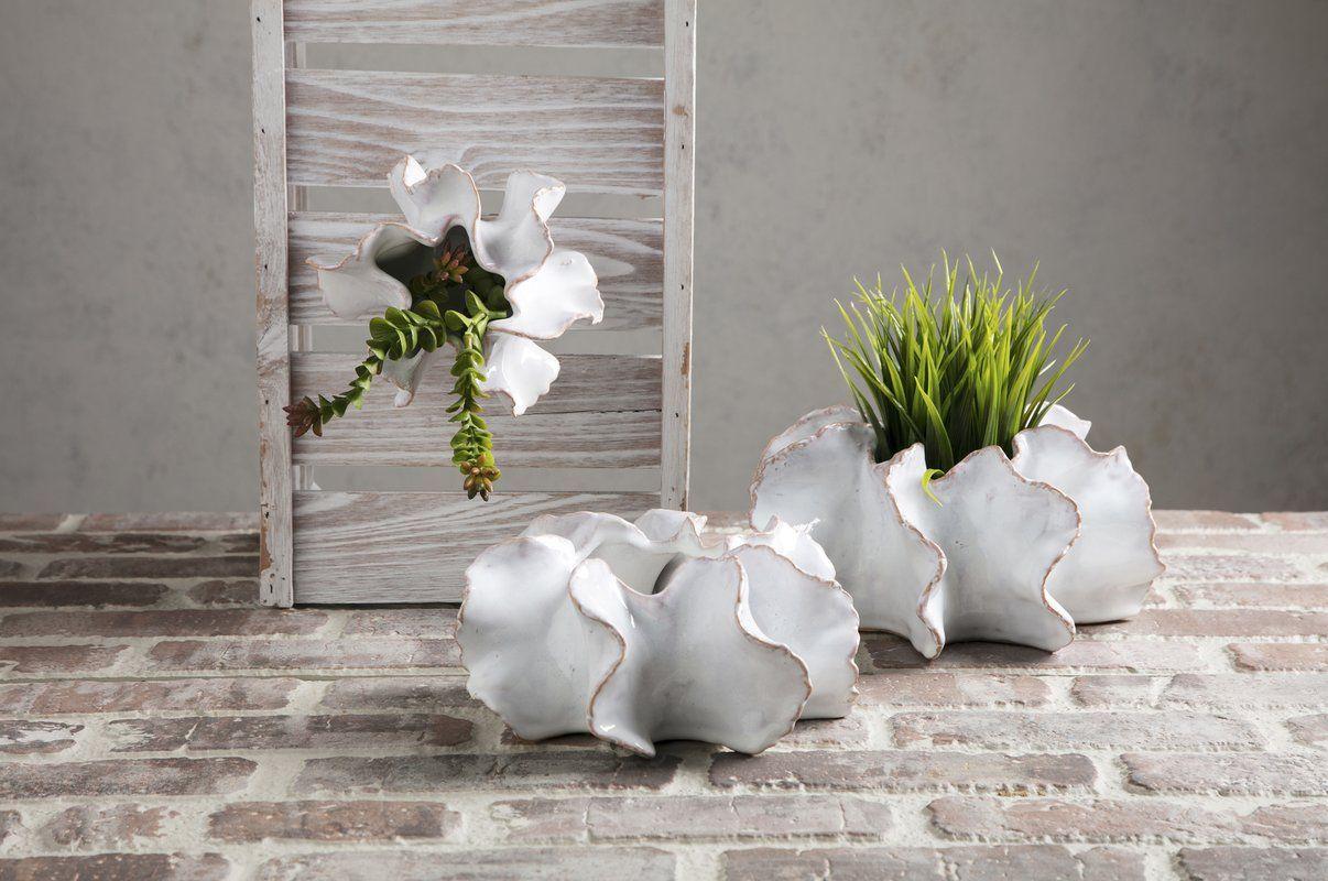 Broadbay Shelled Petals 3 Piece Wall Vase Set Wall vase