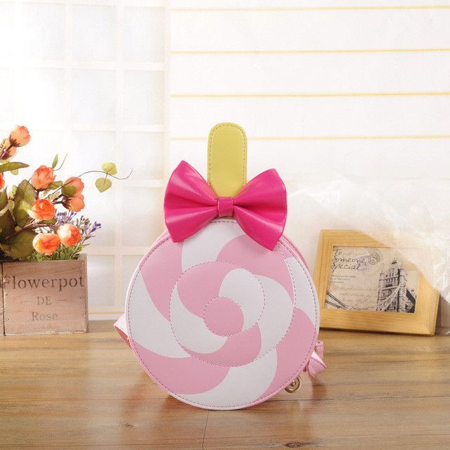Sweet Lollipop Messenger bags Mini lovely girl children zipper candy bowknot pink cross-body female shoulder bag party gift